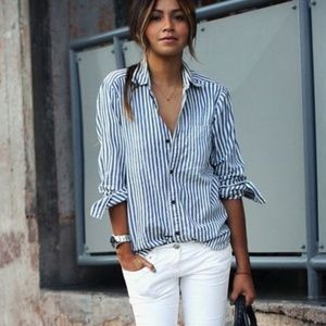J. Crew M striped shirt navy / white blouse